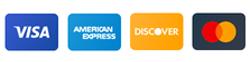 Aceptamos tus tarjetas VISA y Mastercard. AMEX y Discover solo en tienda