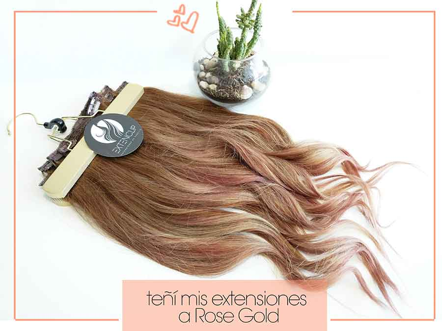 "Teñí mis extensiones a ""Rose Gold"""