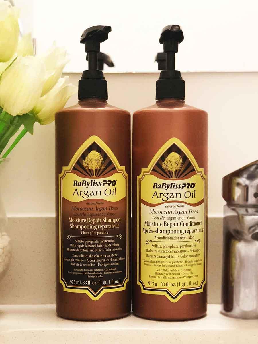 Mi shampú y acondicionador favorito, los BaBylissPRO Argan Oil.