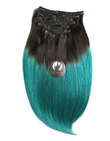 "20"" OMBRE #1B/TEAL (Negro Natural con Teal)"